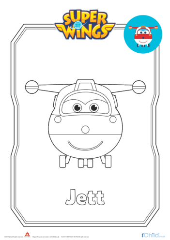 Thumbnail image for the Super Wings: Jett Colouring in Picture (Plane Form) activity.