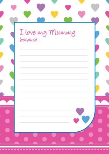 Thumbnail image for the I Love My Mummy Lined Writing Paper Template activity.