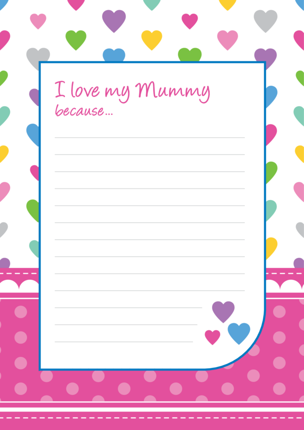 I Love My Mummy Lined Writing Paper Template