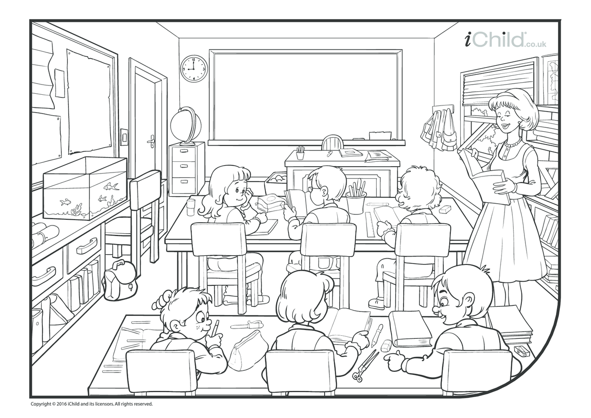 Classroom Colouring in Picture