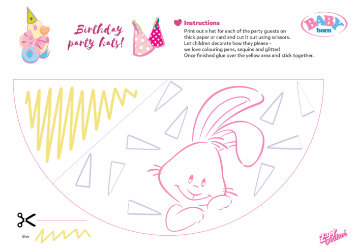 Thumbnail image for the 2021 BABY born Birthday Party Hat - Rabbit activity.
