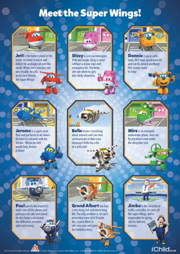 Thumbnail image for the Meet the Super Wings activity.