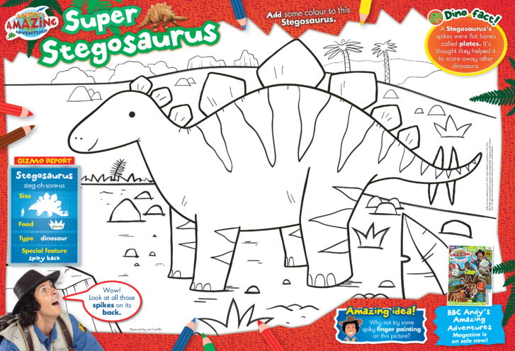 Thumbnail image for the BBC Andy's Super Stegosaurus Colouring in Picture activity.