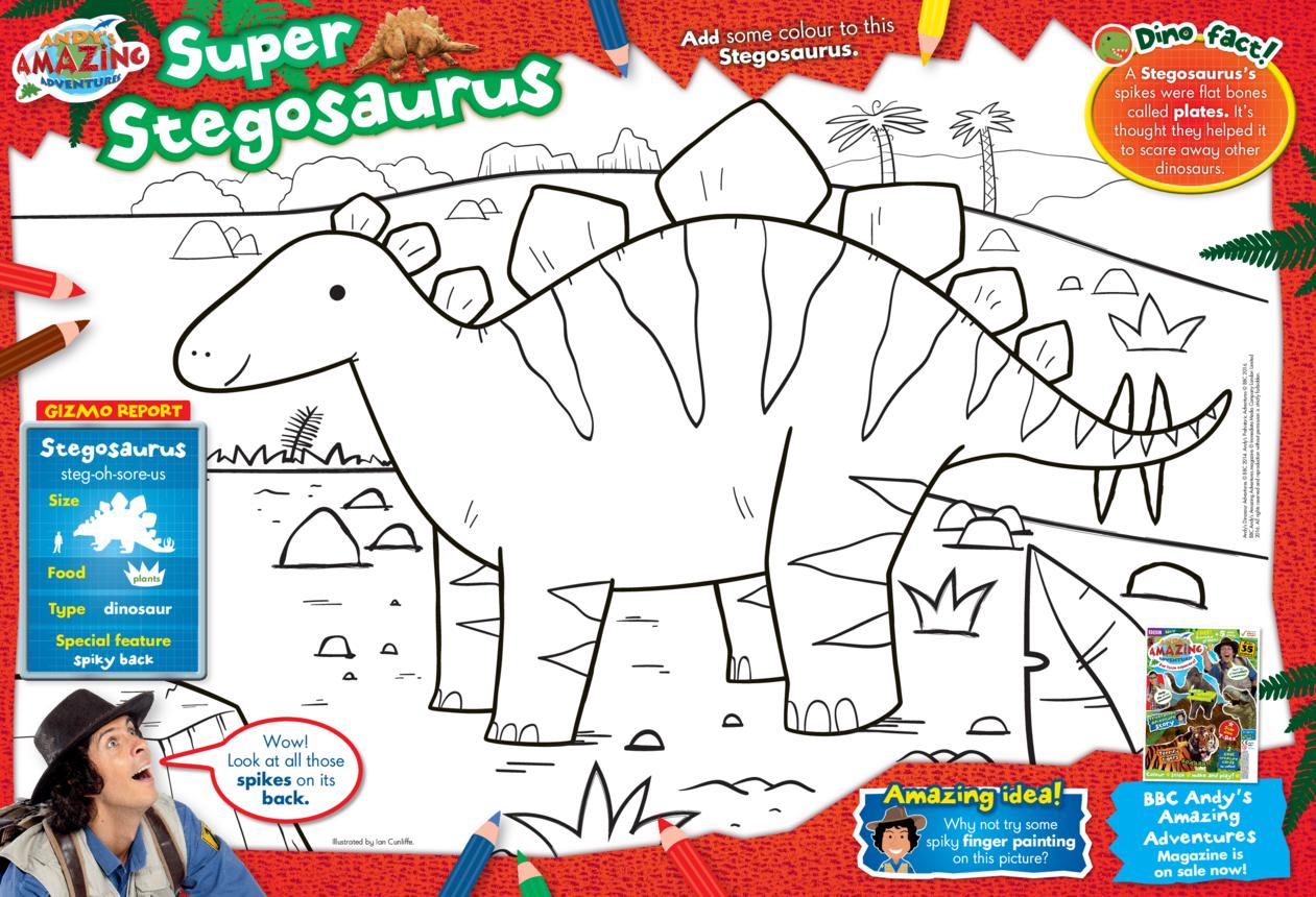 BBC Andy's Super Stegosaurus Colouring in Picture