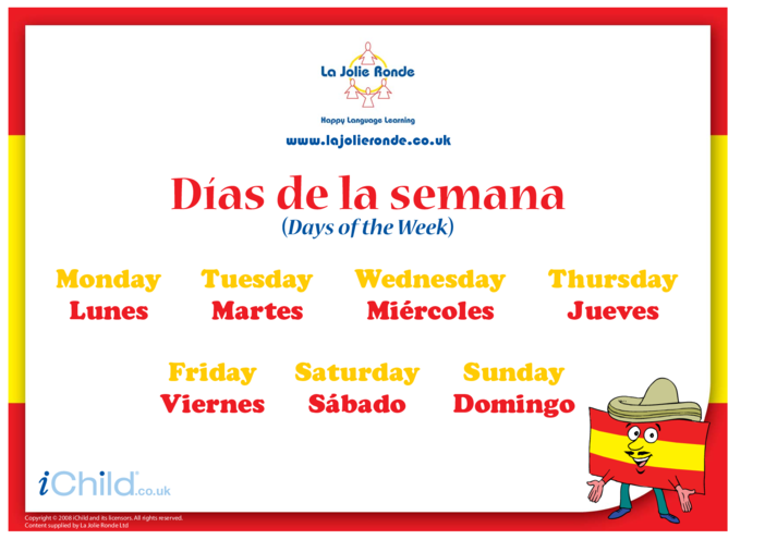 Thumbnail image for the Days of the Week in Spanish activity.