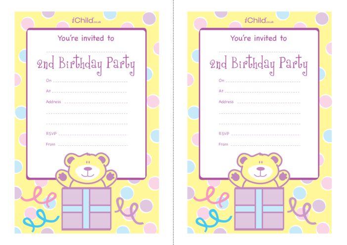 Thumbnail image for the Birthday Party Invitation templates for 2 year old 2nd birthday activity.