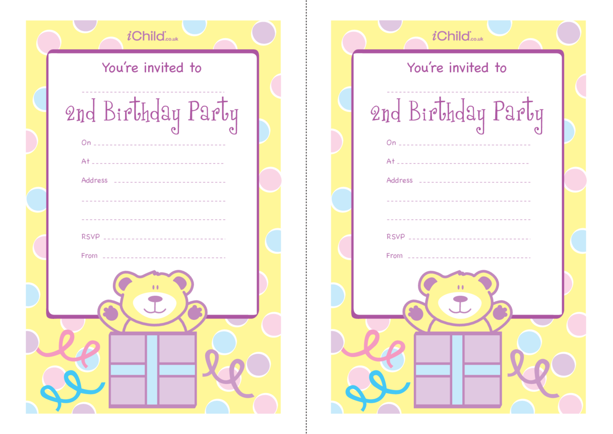 Birthday Party Invitation templates for 2 year old 2nd birthday