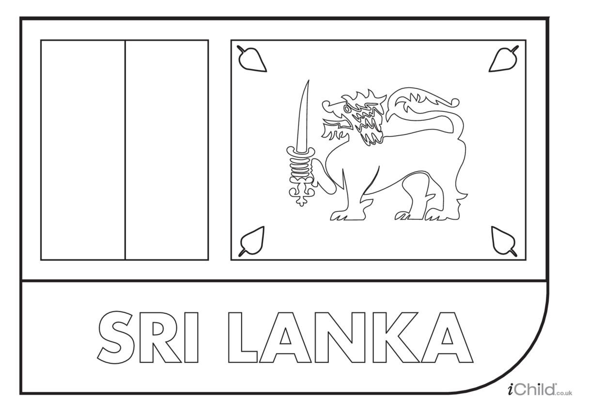 Sri Lanka Flag Colouring in Picture (flag of Sri Lanka)