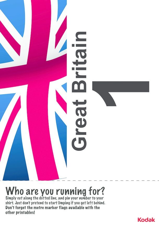 Kodak Running Bib; Great Britain