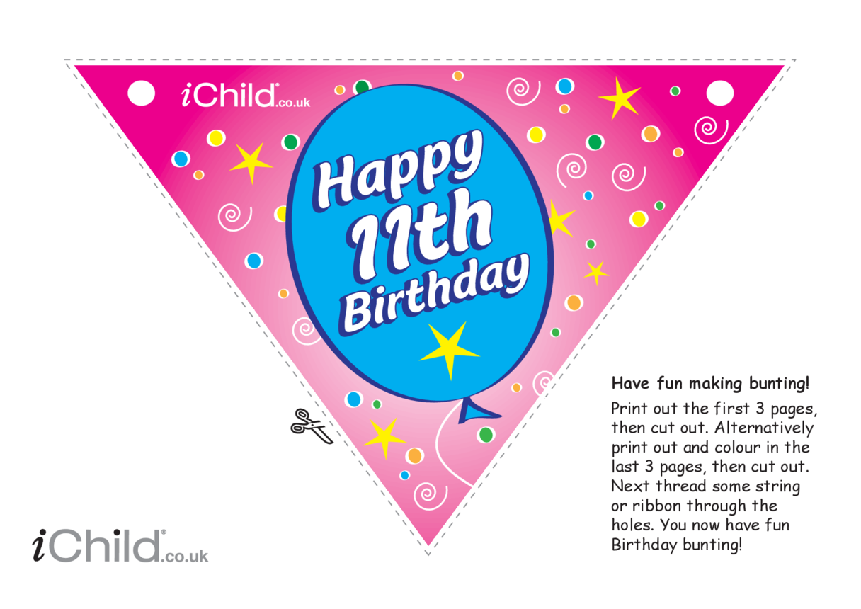 Birthday Party Bunting for an 11 year old's 11th birthday