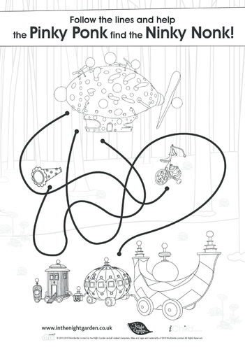 Thumbnail image for the In the Night Garden Maze, Black & White activity.