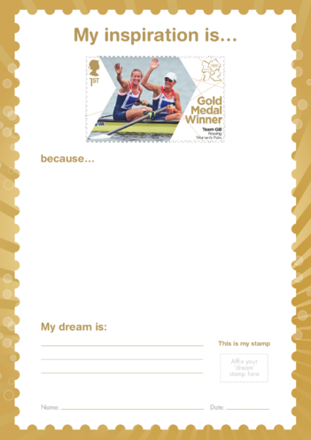Thumbnail image for the My Inspiration Is- Team GB Rowing Women's Pairs- Gold Medal Winner Stamp activity.