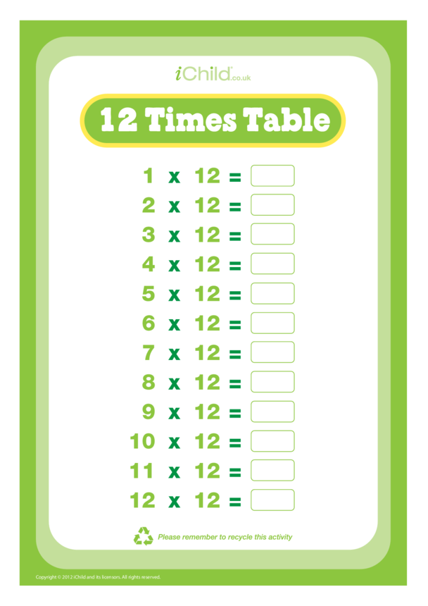 (12) Twelve Times Table Question Sheet