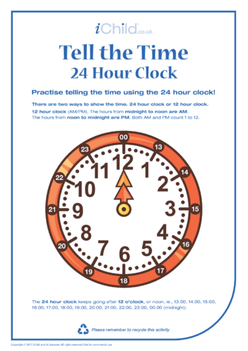 Thumbnail image for the Tell the Time: 24 hour clock activity.