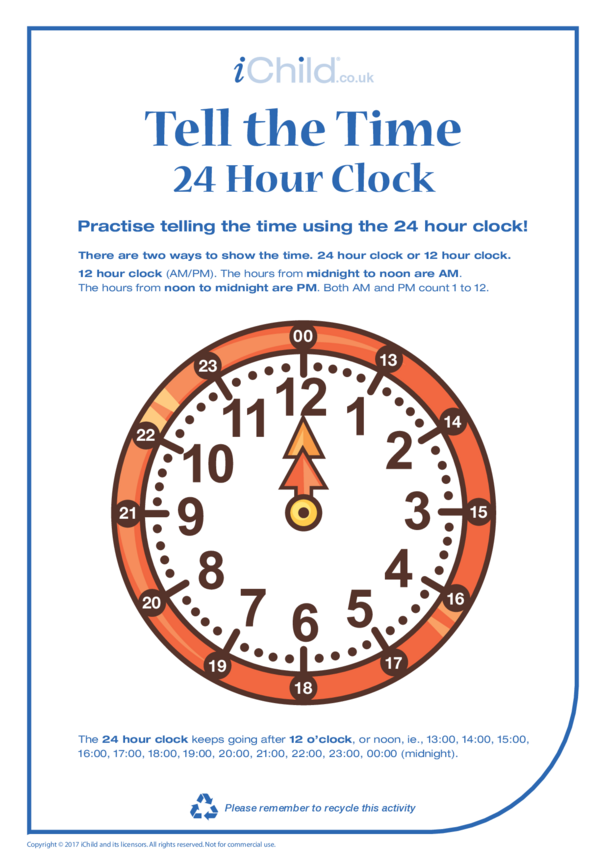 Tell the Time: 24 hour clock