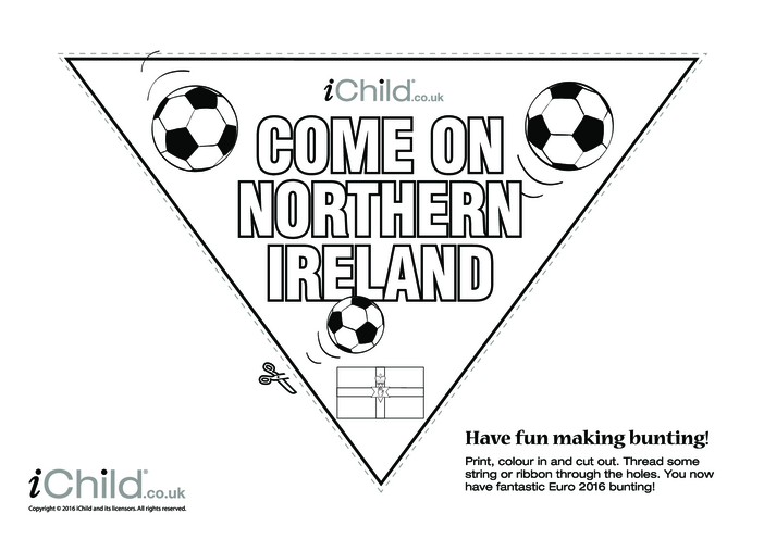 Thumbnail image for the Come on Northern Ireland Football Bunting (B & W) activity.