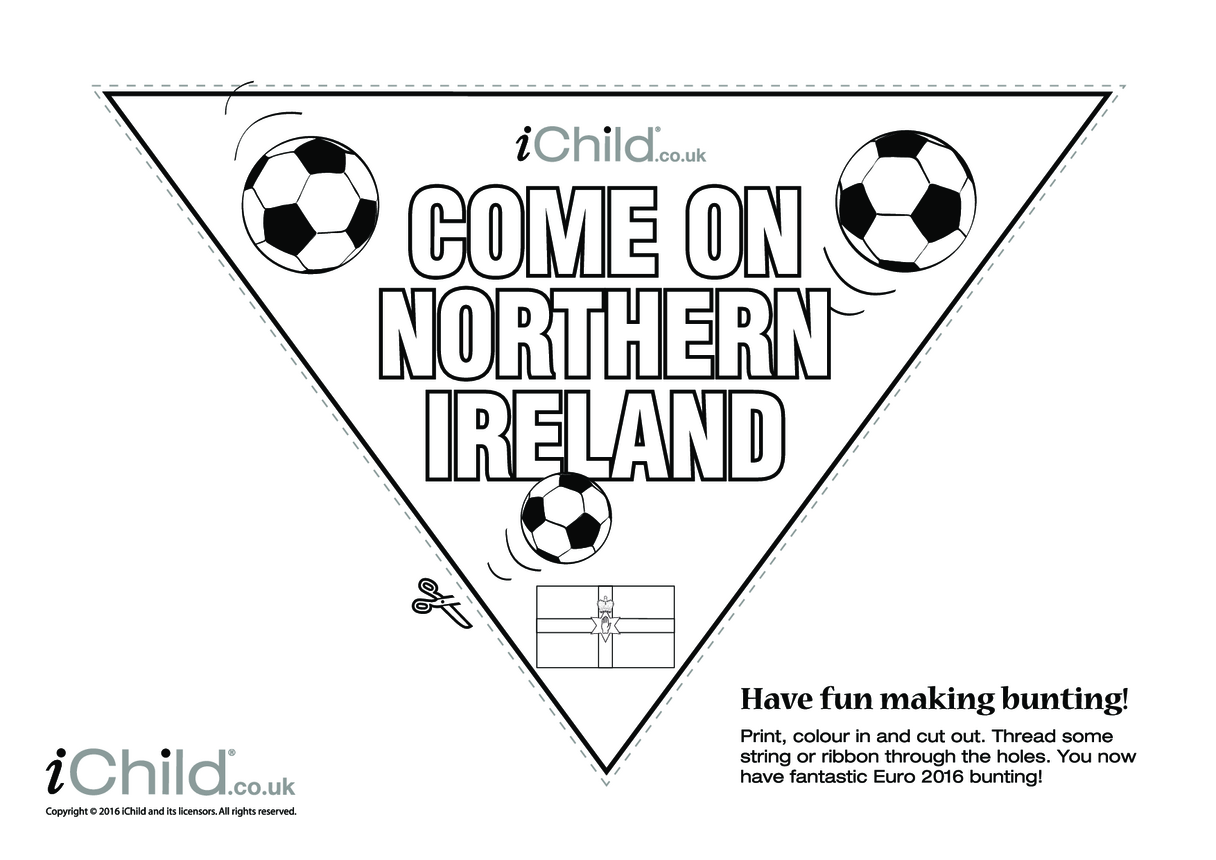 Come on Northern Ireland Football Bunting (B & W)