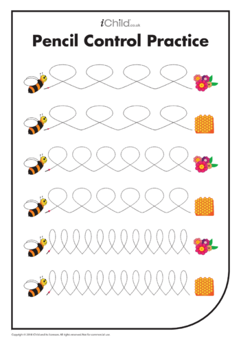 Thumbnail image for the Pencil Control Practice: Busy Bee Lines activity.