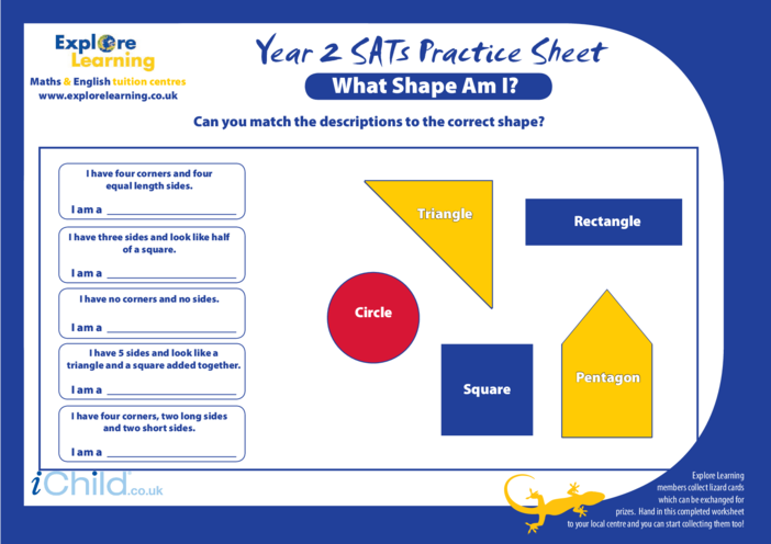 Thumbnail image for the SATS Practice Paper Year 2: What Shape am I? activity.
