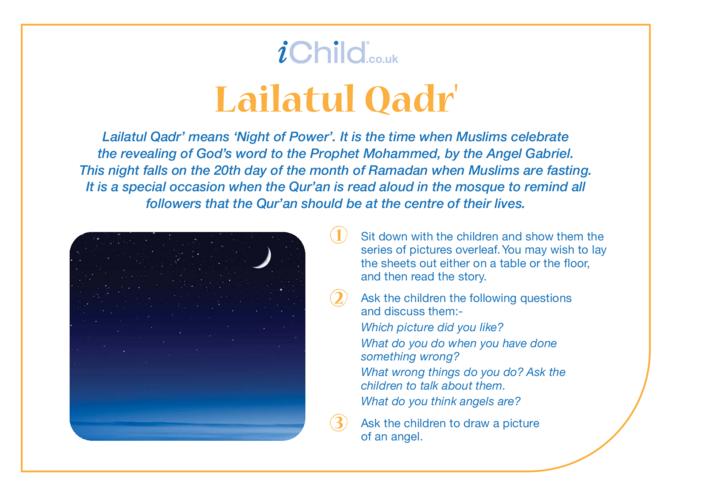 Thumbnail image for the Lailatul Qadr' Religious Festival Story activity.