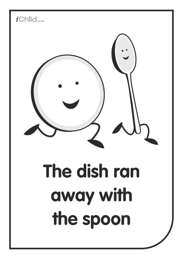 White & Black Poster: The Dish ran away with the Spoon