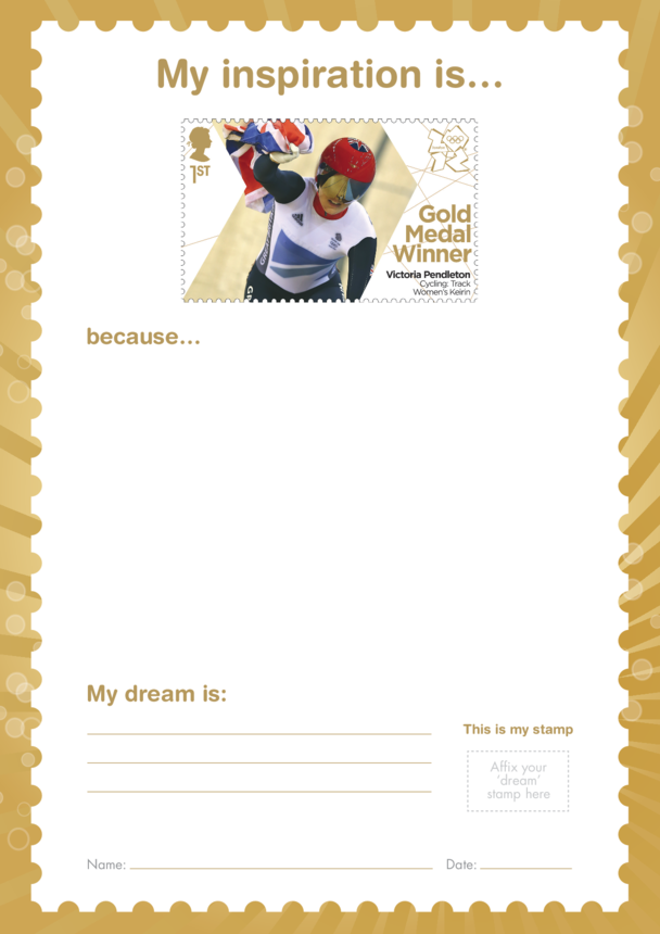 My Inspiration Is- Victoria Pendleton- Gold Medal Winner Stamp Template