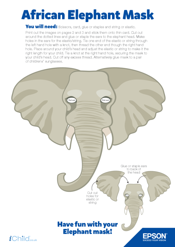 7) Epson African Elephant Face Mask