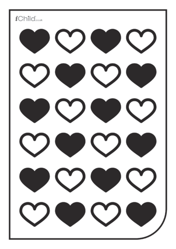 Thumbnail image for the White & Black Poster: Heart Pattern activity.