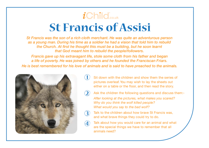 Thumbnail image for the St. Francis of Assisi Religious Festival Story activity.