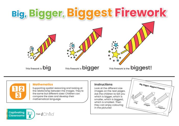 Thumbnail image for the Big, Bigger, Biggest Firework activity.