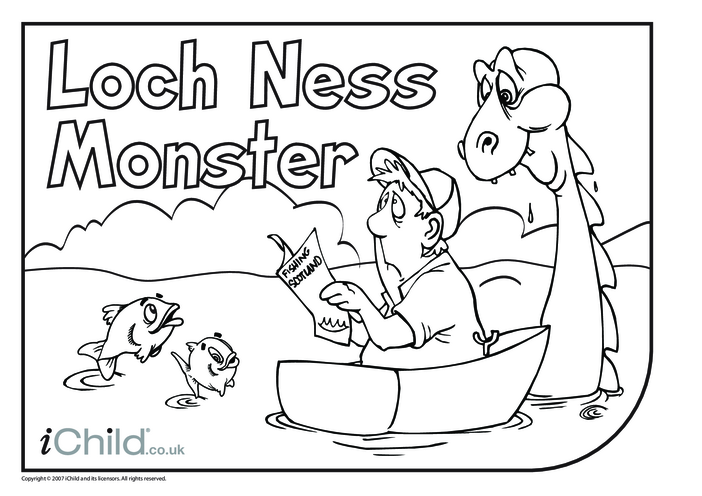 Thumbnail image for the Loch Ness Monster Colouring in picture activity.