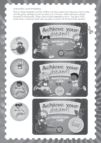 Thumbnail image for the Primary 5) Achieve Your Dream- Instruction Card Templates Black & White activity.