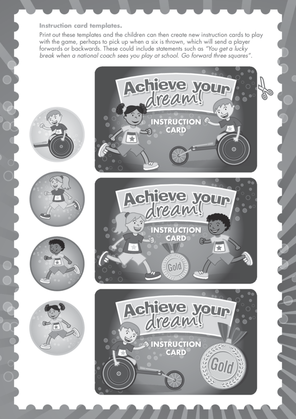Primary 5) Achieve Your Dream- Instruction Card Templates Black & White