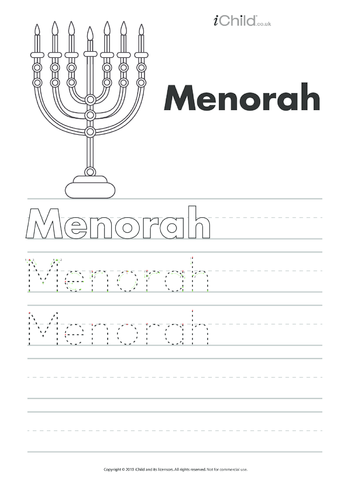 Thumbnail image for the Menorah Handwriting Practice Sheet activity.