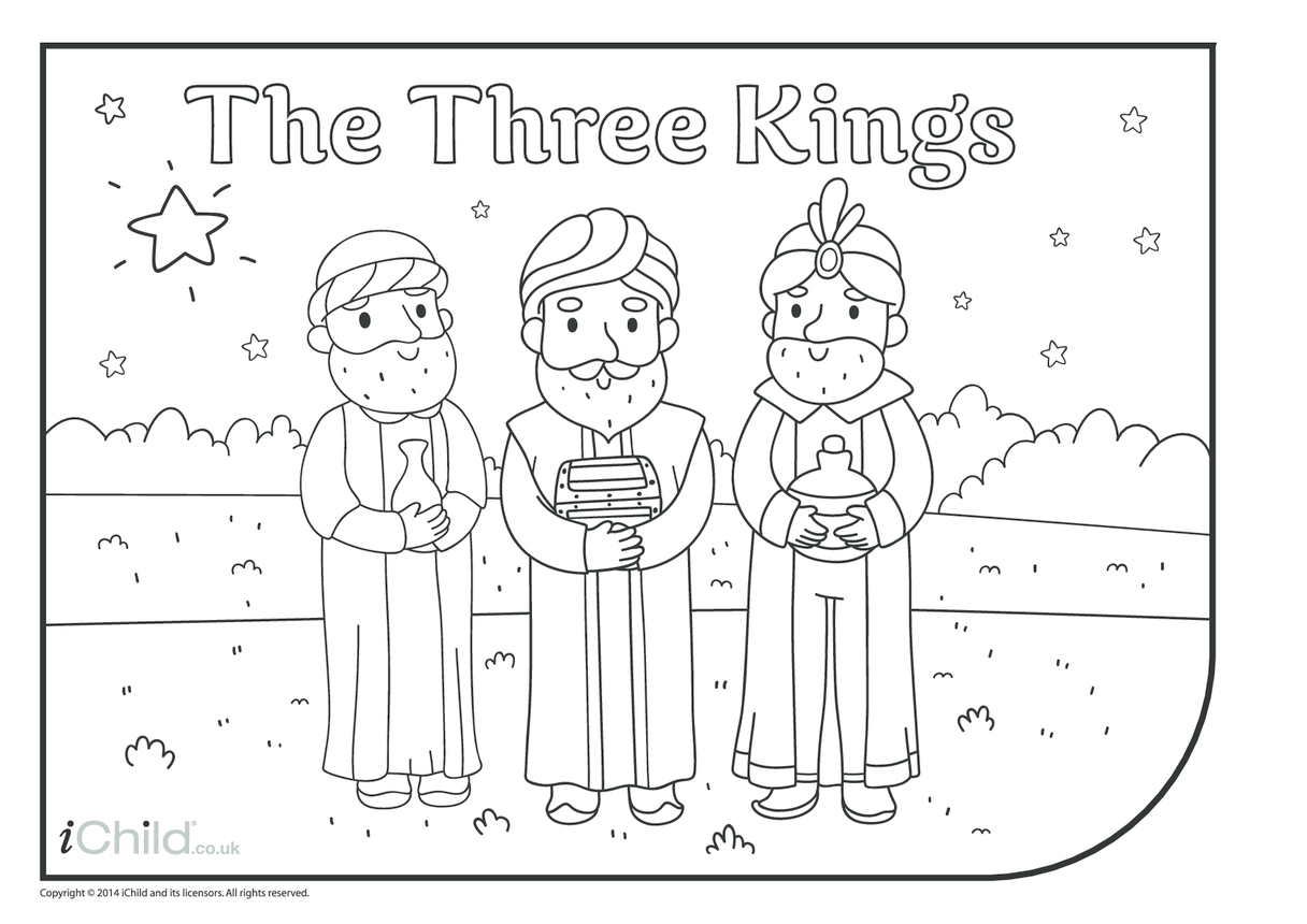 The Three Kings Colouring in Picture
