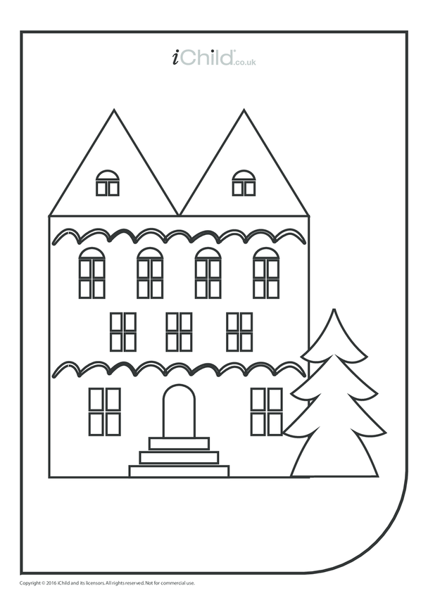 House & Christmas Tree Colouring in Picture