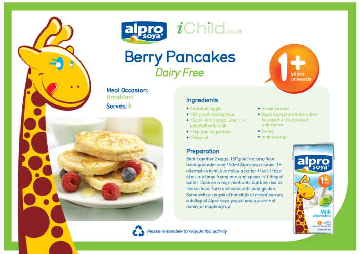 Thumbnail image for the Berry Pancakes Dairy Free Recipe activity.