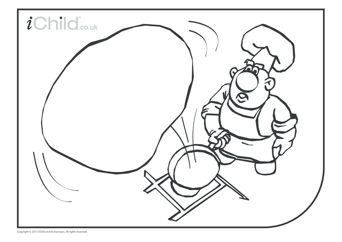 Thumbnail image for the Pancake Day Colouring in picture (large pancake) activity.