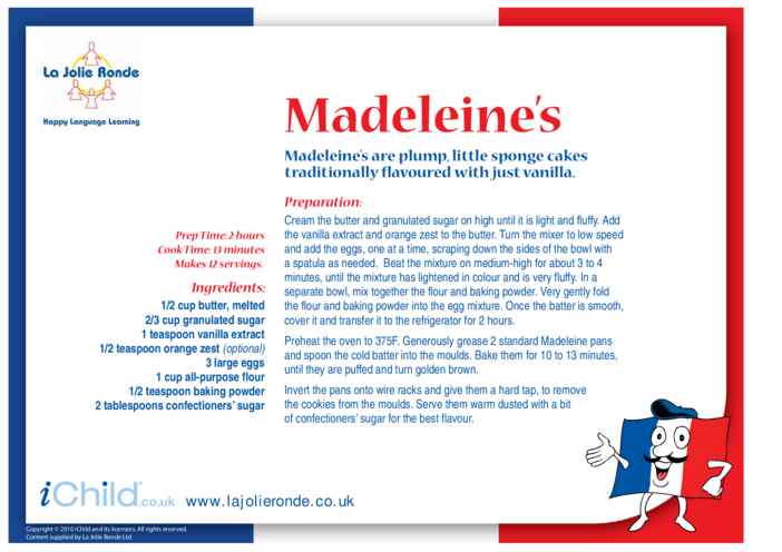 Thumbnail image for the Madeleine Recipe activity.
