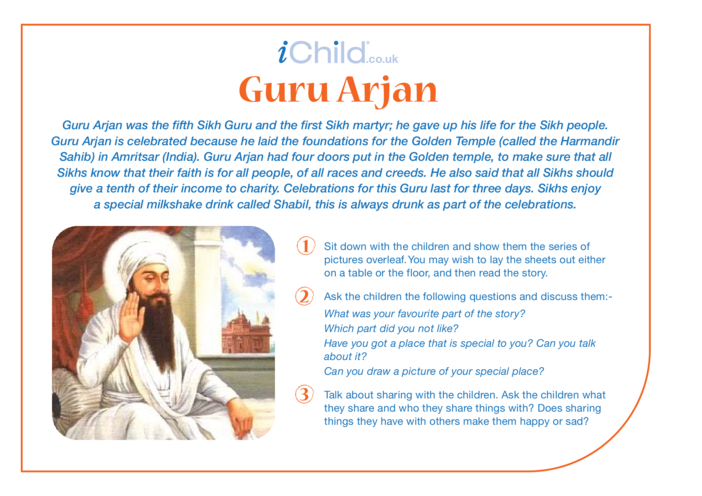 Thumbnail image for the Birthday of Guru Arjan Dev Religious Festival Story activity.