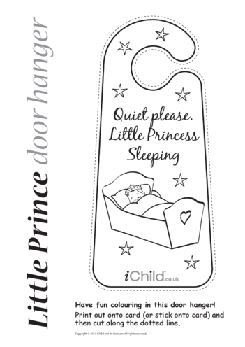 Thumbnail image for the Little Princess Sleeping Door Hanger activity.