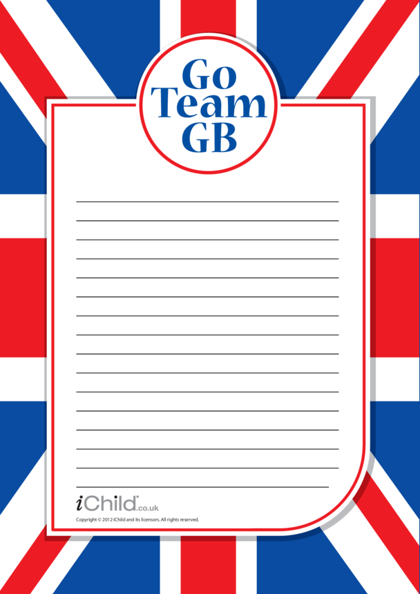 Team GB Lined Writing Paper Template