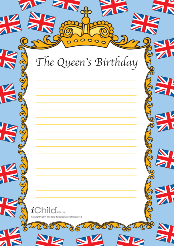 Queen Lined Writing Paper Template