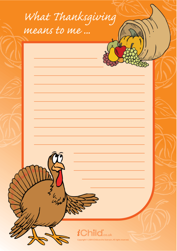 Thanksgiving Lined Writing Paper Template