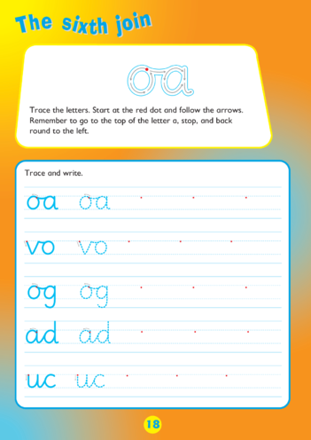 Thumbnail image for the Collins Easy Learning KS1 English Handwriting, The Sixth Join activity.