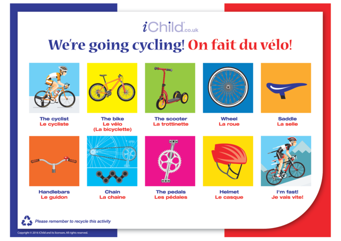 Thumbnail image for the French Cycling Words activity.