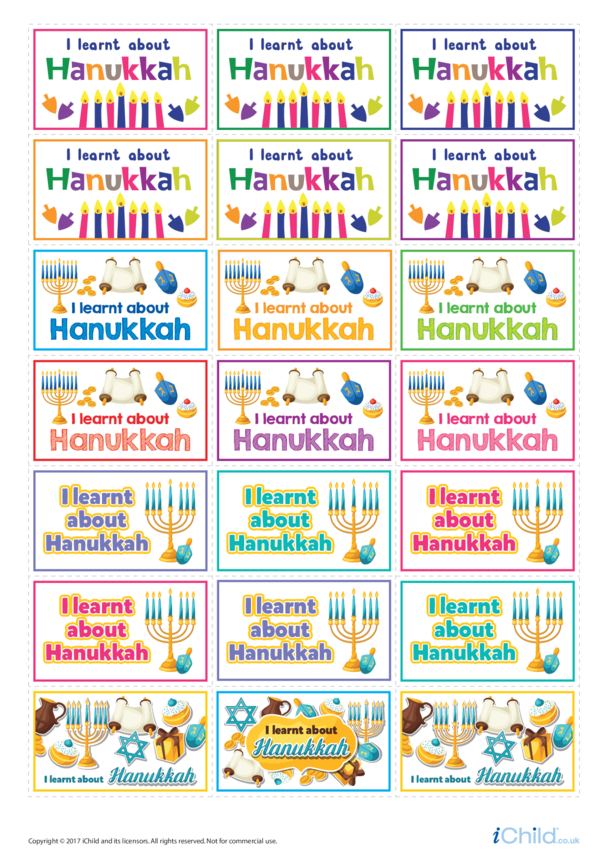 I Learnt About Hanukkah: Large Sticker Sheet