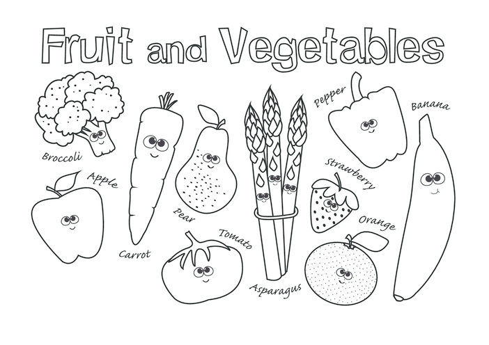 Thumbnail image for the Fruit & Vegetables (black & white) - Signs & Posters  activity.