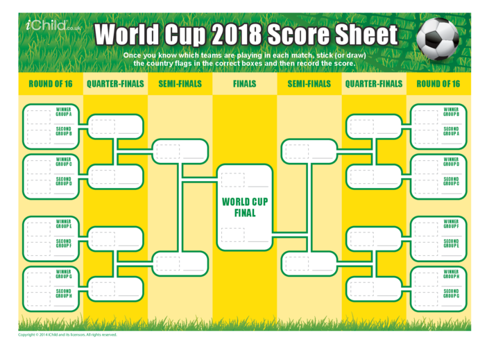 Thumbnail image for the World Cup 2018 Score Sheet activity.