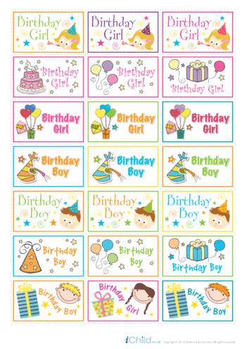 Thumbnail image for the Birthdays Large Sticker Sheet activity.